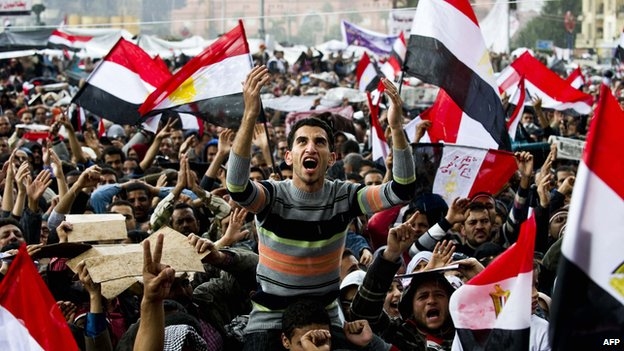 Anti-Mubarak protesters in Tahrir Square in Cairo on 10 February 2011