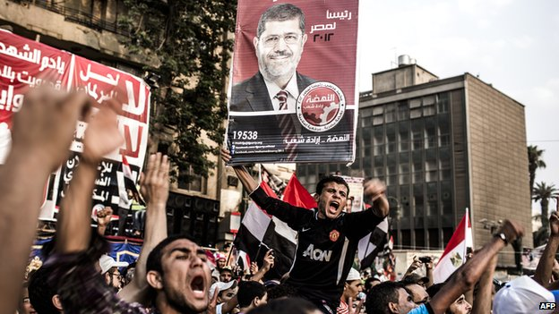 Supporters of Mohamed Morsi, the Muslim Brotherhood's candidate, protest against Egypt's military rulers in Tahrir Square and celebrate a premature presidential election victory in Cairo, Egypt, on 23 June 2012.