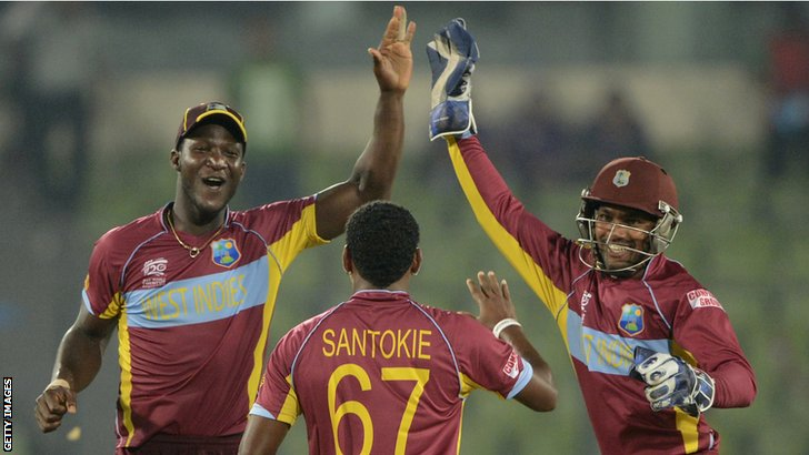 Darren Sammy, Krishmar Santokie and Denesh Ramdin