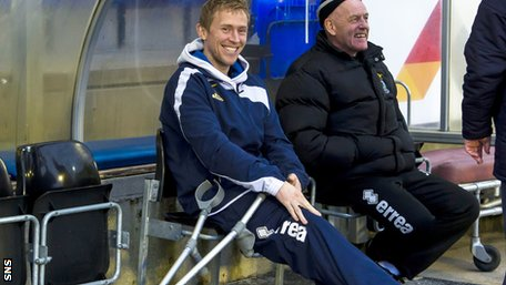 Inverness skipper Richie Foran is all smiles despite the crutches.