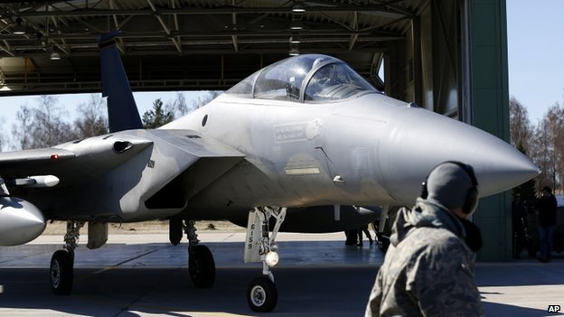 US F15C Eagle jet fighter ready for deployment in Lithuania for Nato's Baltic Air Policing mission (1 April 2014)