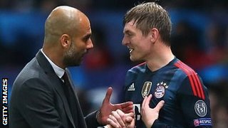 Pep Guardiola and Toni Kroos