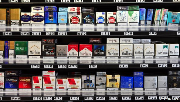 Cigarettes in a store