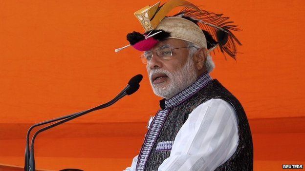 Modi at a rally in Itanagar in the northeastern Indian state of Arunachal Pradesh March 31, 2014.