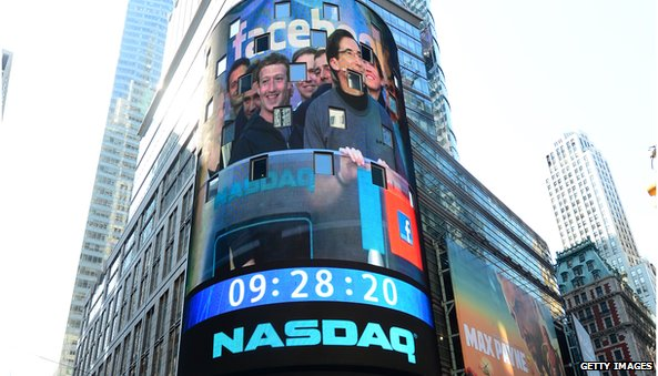 Nasdaq banner with Mark Zuckerberg on IPO day