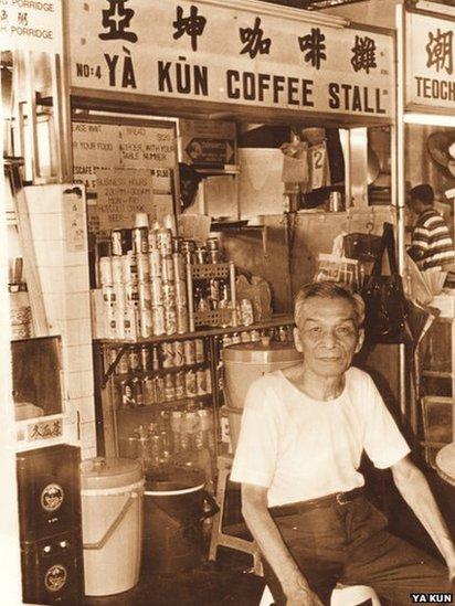 Ah Koon in front of Ya Kun coffee stall