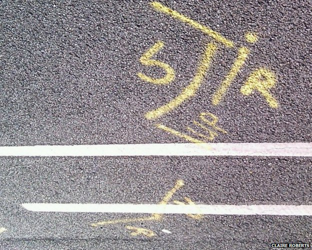 iR/up markings on the road