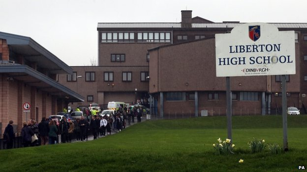 Pupils leave the school