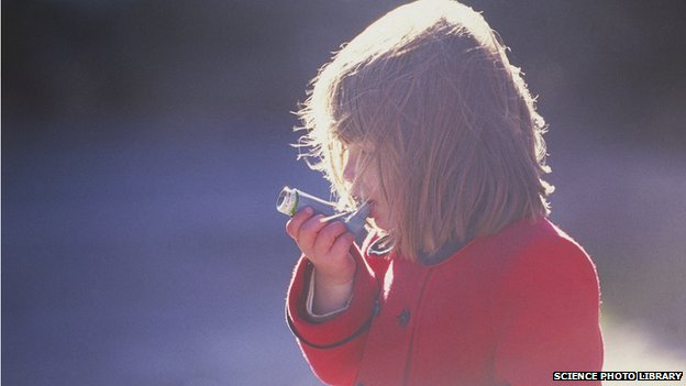 Child with an inhaler