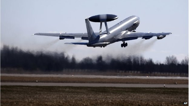 A Nato Airborne Warning and Control System (AWACS) aircraft takes off during the Lithuanian - NATO air force exercise at the Siauliai airbase