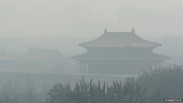 Forbidden City through the smog
