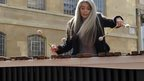 Musician Evelyn Glennie playing the percussion in BH piazza