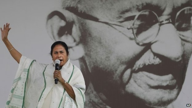Mamata Banerjee addresses an election rally in New Delhi, India, Wednesday, March 12, 2014