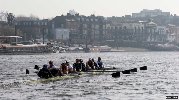 Oxford rowing crew train on the Thames for the annual boat race (2 March)