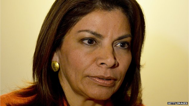 Costa Rican President Laura Chinchilla is seen during an interview on 28 January, 2014, in Havana.