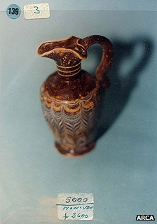 The jug offered for sale may match one in an archive of smuggled items