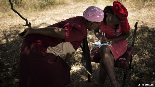 Two women apply for a loan in South Africa