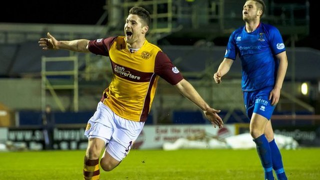 Iain Vigurs celebrates after putting Motherwell 2-1 ahead against Inverness