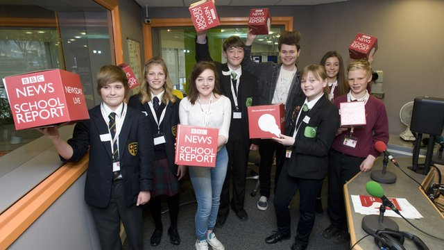 School Reporters in the BBC Radio Humberside studio