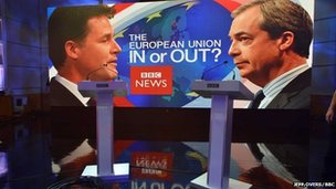 Crew setting up for Farage-Clegg debate