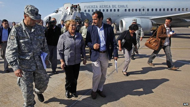 Chile's President Michelle Bachelet in Iquique on 2 April 2014