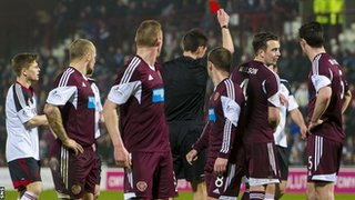 Danny Wilson was sent off as Hearts drew 1-1 with Aberdeen