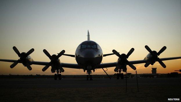 Royal Australian Air Force P-3C Orion aircraft on the tarmac of RAAF Base Pearce near Perth. 2 April 2014
