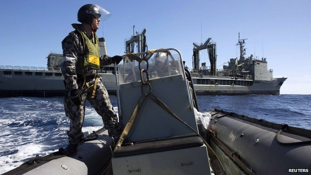 Rigid Hull Inflatable Boat deployed from the Australian Navy ship the HMAS Success