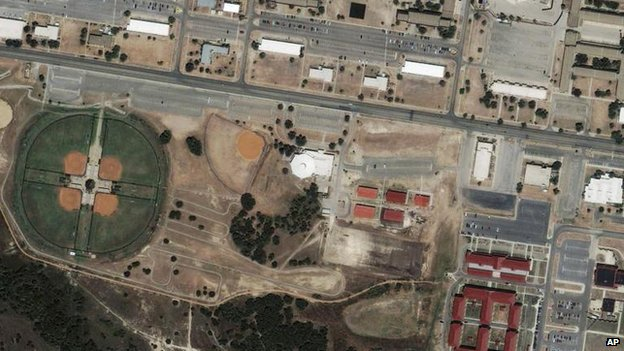 A 2009 satellite image of Fort Hood following the earlier shooting incident