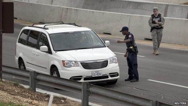 Car checks at Fort Hood, 2 April