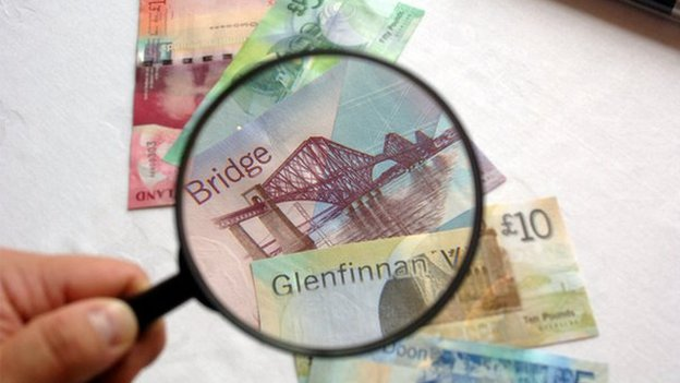 Scottish bank notes under magnifying glass