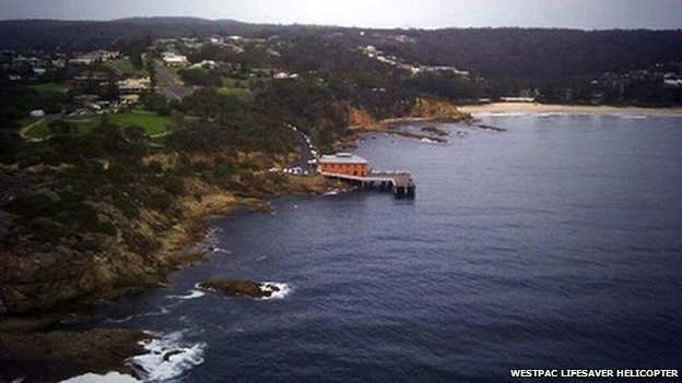 View from a search helicopter combing the Tathra coast