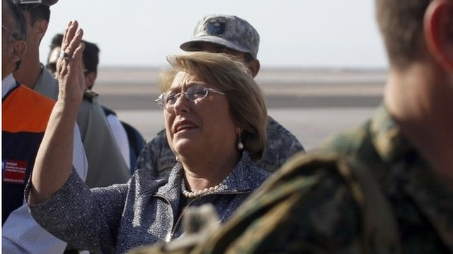 Chile's President Michelle Bachelet arrives at the airport in Arica, Chile, on April 2, 2014.