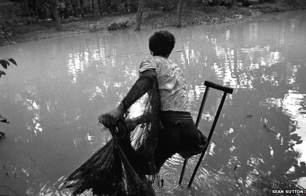 Man fishing in Cambodia, 1996