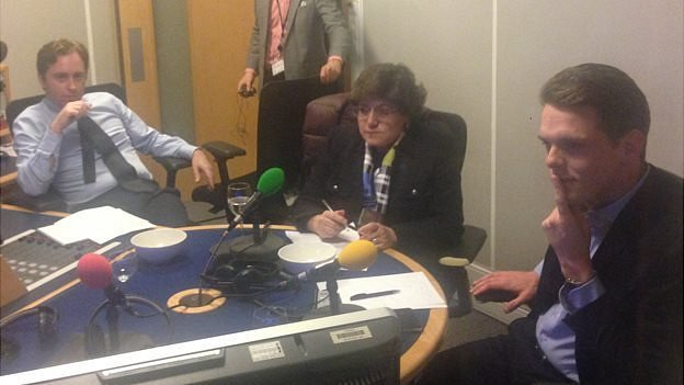 Ben Wright, Christofer Fjellner, and Ana Gomes watch the Clegg-Farage debate