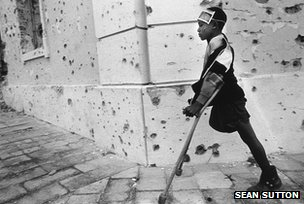 Candre Antonio stood on a landmine outside his house. His father, looking to defend himself, planted the mine. Kuito, Angola