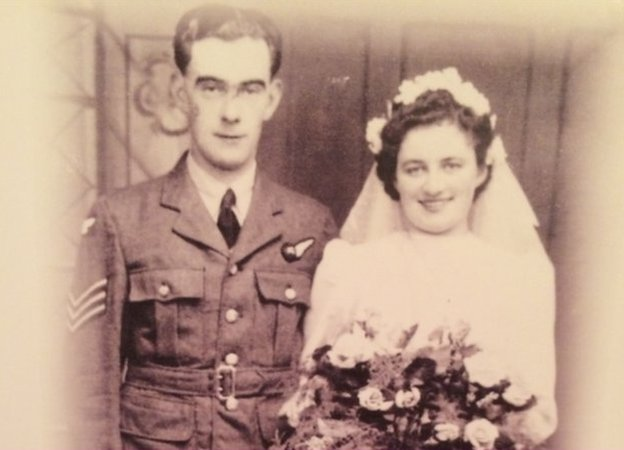 Joseph and Kathleen Bannan on their wedding day in September 1944