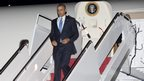 US President Barack Obama arrives on Air Force One at Andrews Air Force Base near Washington DC.