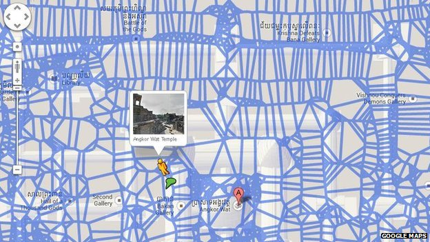 Google Maps view of Angkor Wat area