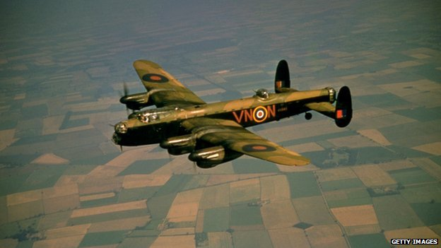 An AVRO Lancaster Bomber of the 50 Squadron in flight, circa 1940