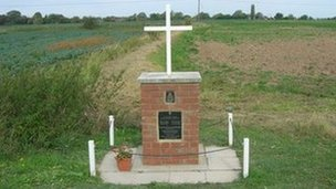 A memorial in Bicker, near Spalding, where a Lancaster crashed