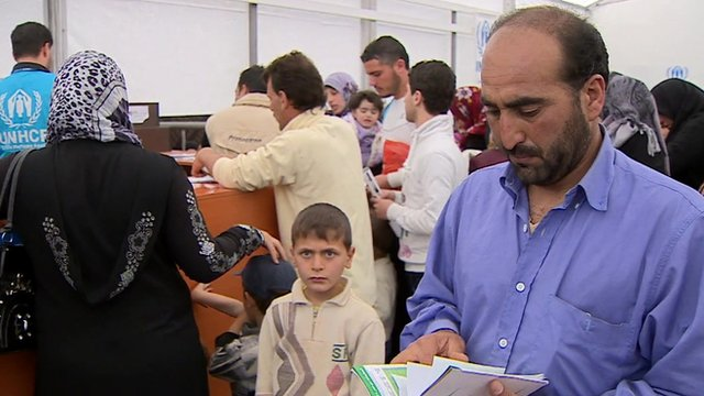 Refugees registering with UN