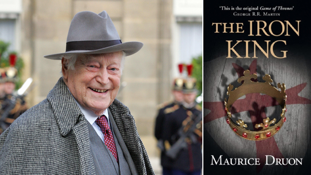 Maurice Druon and cover of his book, The Iron King
