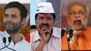 From left to right, Rahul Gandhi, Arvind Kejriwal and Narendra Modi are the key candidates for PM