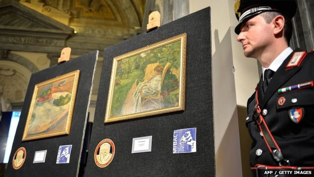 Italian police revealed the paintings at a press conference on Wednesday