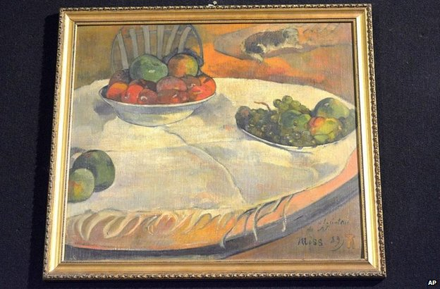 Paul Gauguin's Fruits sur une table ou nature au petit chien