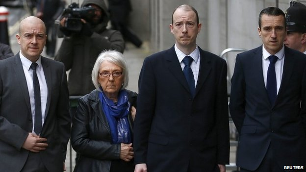 PC Blakelock's widow Elizabeth, with her sons (left to right) Lee, Kevin and Mark
