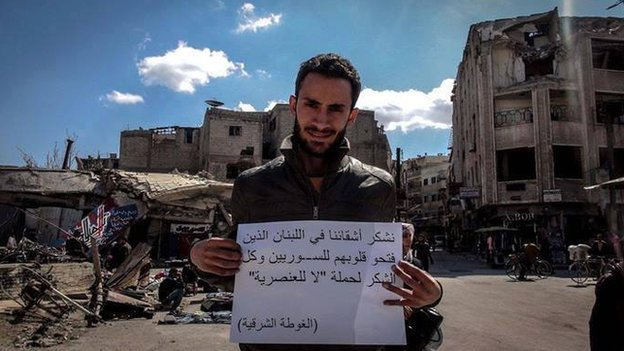 A Syrian in Damascus thanking Lebanese for the No to Racism Campaign