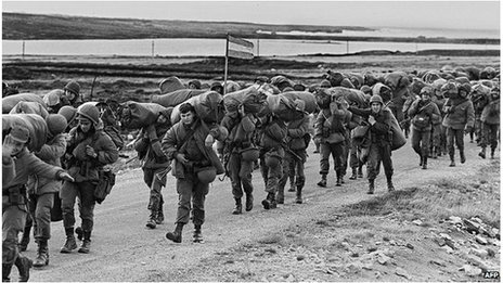 Argentine soldiers on their way to occupy the captured Royal Marines base in Port Stanley, a few days after Argentina seized the Falkland Islands