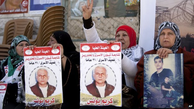 Women hold portraits of Palestinian prisoners held in Israel jails, at a rally in Ramallah on 1 April 2014